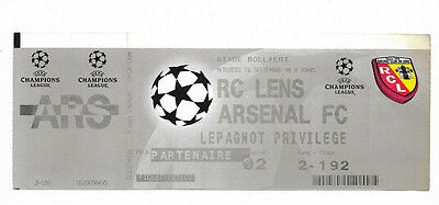 Complete Ticket 1998/99 UEFA Champions League - RC LENS v. ARSENAL