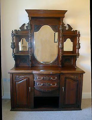 Large Antique Victorian Mahogany Mirror Backed Sideboard