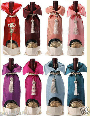 Lot 10Pcs Mix Colors Chinese Handmade Sun Flower Brocade Wine Bottle Covers