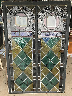 "Antique leaded stained glass window 51 1/4"" x 34"""