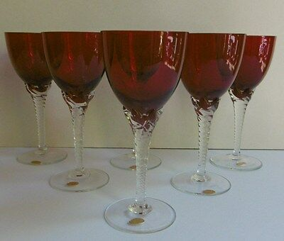 6 Made in Czechoslovakia Ruby Wine Glasses