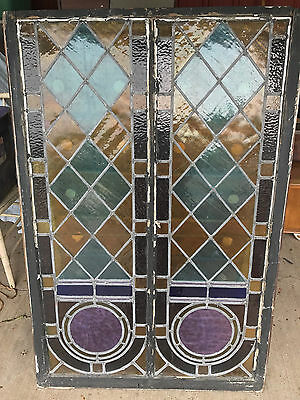 "Antique leaded stained glass window 51 1/4"" x 34 1/4"""