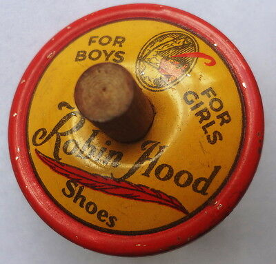 c1930's ROBIN HOOD SHOES advertising TIN LITHO toy SPINNER TOP - TOP CONDITION