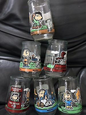 Set of 6 Vintage Welch's Peanuts 'Comic Clasics' Glasses