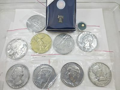 LOT US Novelty Large Collector Coins, Mini Gold Penny, Hallmark Liberty Bell