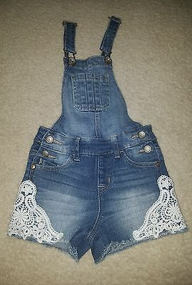 Justice denim shortalls with lace. Size 8