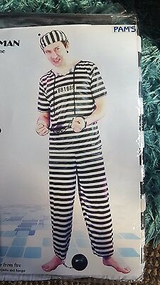 Adult Prisoner Costume Black & White One Size Festival Party Stag Fancy Dress