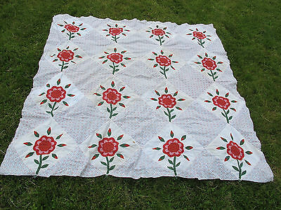 Antique Applique And Pieced Quilt Top - Red & Green - Aafa
