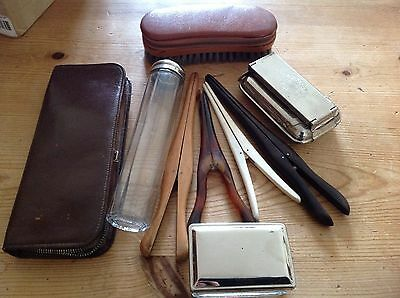 Vintage Glove Stretchers x 4 & Clothes Brush/glass Jar & Soap Dish/tongs Heater