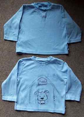 2 x Baby Boys Long Sleeve Tops T-Shirts Puppy Theme 12-18 Months From Tu