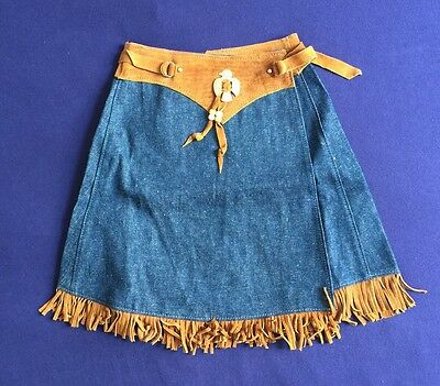 Vintage Kids Girls  Native American Indian Denim Skirts Cowgirl NOS