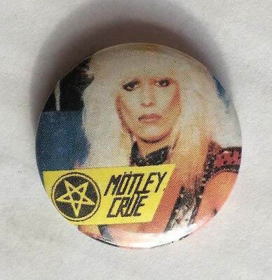 "Vintage early 80s MOTLEY CRUE band pinback button 1"" pin badge Vince Neil LA"