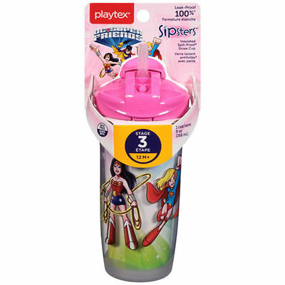 PLAYTEX - Sipsters Super Friends Straw Sippy Cups - 9 oz. (266 ml)