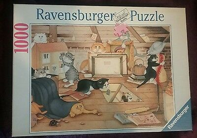 Ravensburger 1000 piece jigsaw puzzle titled Cats In The Attic