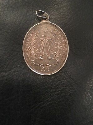 """Vintage Sterling Silver Religious Medal """"Congregation Of The Children of Mary"""""""