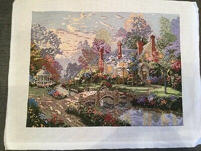 Thomas Kinkade 'Beyond Spring Gate' - completed cross stitch picture