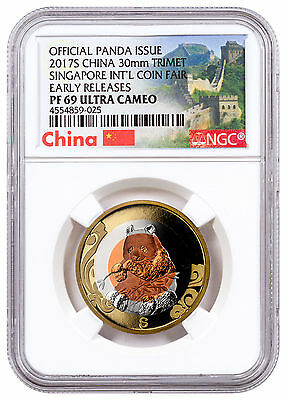 2017 S China Singapore Intl Coin Fair Tri-Metal Panda NGC PF69 UC ER SKU47421