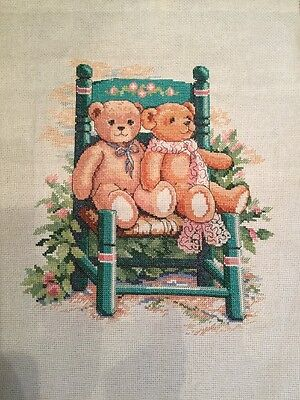 Teddy Bears - completed cross stitch picture