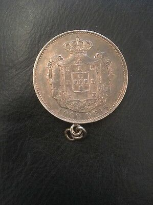 Portugal, Carlos I, An Original silver 1000 reis, 1899, In Form Of Pendant