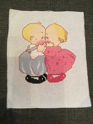 Completed cross stitch picture, 'Kiss'