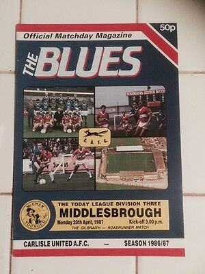 Carlisle V Middlesborough Programme 20/04/1987