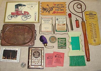 Vintage Junk Drawer LOT: Advertising Mirrors, Thermometers, Rug Beater, AZ Tray