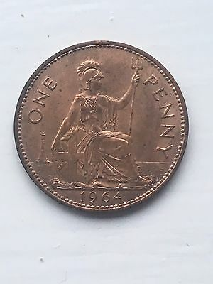 1964  COPPER ONE PENNY 1P Great Britain - Queen Elizabeth II - QE2 - UK Coin Unc