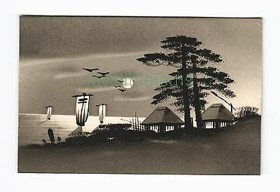 c1910 PPC Japan Silhouette moonlight scene