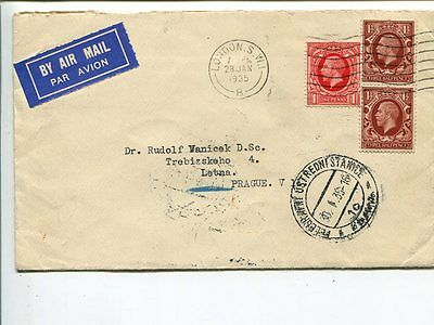 Great Britain air mail cover to Czechoslovakia 1935