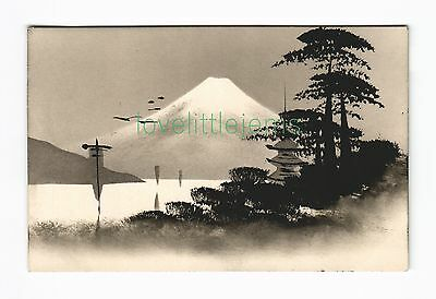 c1910 PPC Japan Silhouette moonlight scene (c)