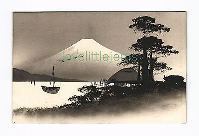 c1910 PPC Japan Silhouette moonlight scene (d)