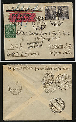 Italy  402,407  express???  cover to  US   1939       MS0305