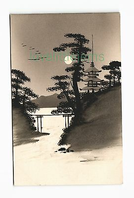 c1910 PPC Japan Silhouette moonlight scene (g)