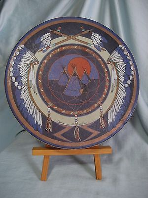 "Signed Clarence A Wells Hand Drum 11""-Haida First Nations Sun Tepee Design"