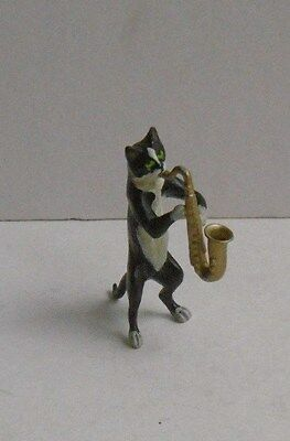 Cold Painted Bronze or Brass Figure of Cat Musician Playing Saxophone Miniature