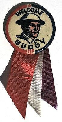 "M732. VINTAGE: World War II ""WELCOME BUDDY"" Pinback Button & Ribbon (c. 1940)"