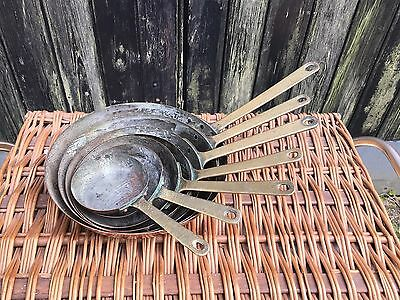 Vintage Retro Set of 7 Copper Brass Pans Frying Pans Graduating Patina Display