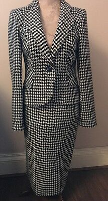 M&S Woman Ladies 50s vintage black white dogtooth wool pencil skirt suit SIZE 10