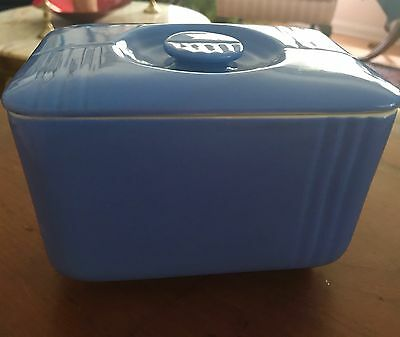 Vintage Blue Hall China For Westinghouse Refrigerator Butter Dish + Lid Art Deco