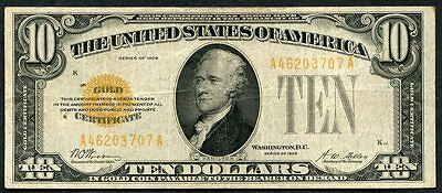 United States $10  Gold Certificate 1928  You Do The Grading Have Fun Bidding