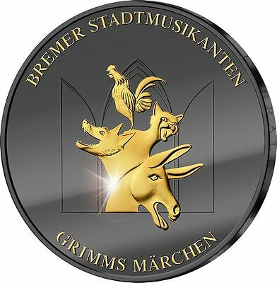 TOWN MUSICIANS OF BREMEN GOLDEN ENIGMA 2017 Silver Coin Ruthenium 24K Germany