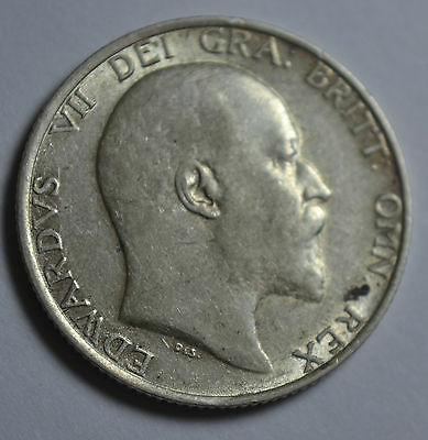 1910 King Edward VII SILVER SHILLING       **Nice condition**.