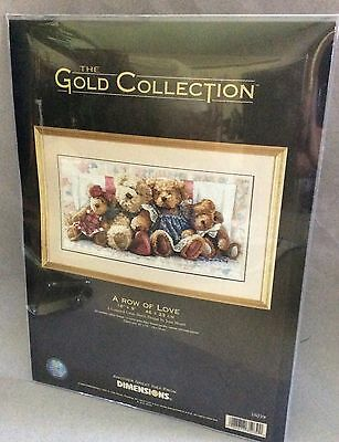 """Dimensions """"A ROW OF LOVE"""" Teddy Bear Counted Cross Stitch Kit 35039"""