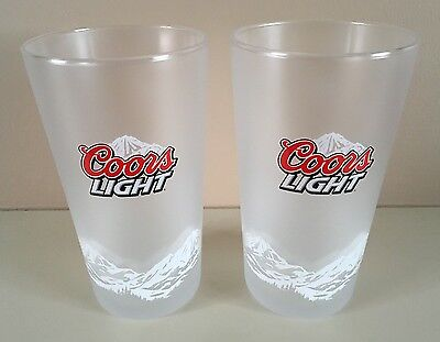 2 X NEW COORS LIGHT Frosted pint glasses