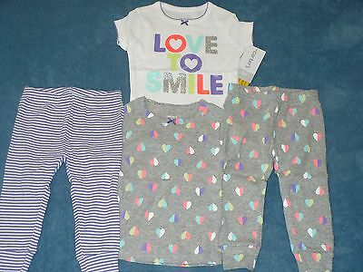 "NWT Carter's Girls 4 Piece ""Love to Smile"" Pajama Set Size 6 months"
