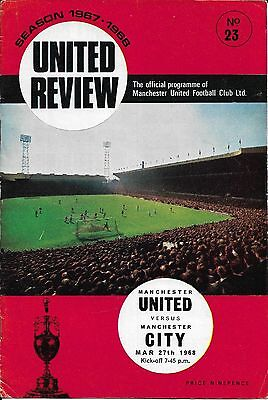 1967/68 Manchester United V Manchester City Euro Cup Season