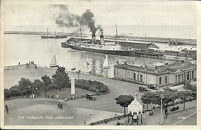 Old Postcard  THE HARBOUR DUN LAOGHIRE DUBLIN IRELAND