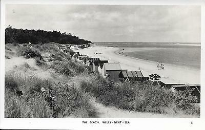 Old Postcard The Beach Wells-next-Sea
