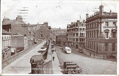 Old Postcard Mall Cannons Presentered By Companies Londonderry Ireland
