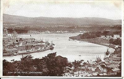 Old Postcard View On The Foyle  Londonderry Ireland